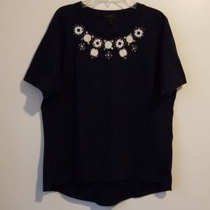 J.Crew navy short sleeve top L NWT